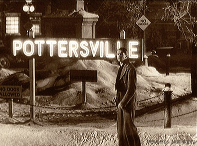 What could have been: James Stewart as George Bailey stands in Pottersville - what Bedford Falls would have become without him