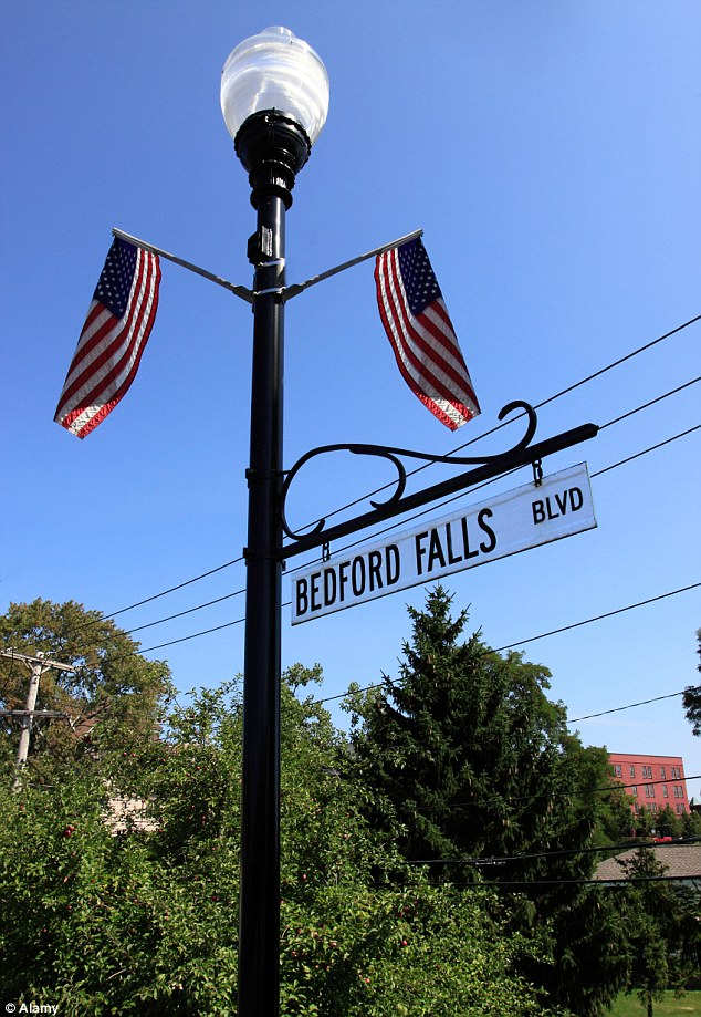 Tribute: A street in Seneca Falls, New York pays homage to the 1946 movie 'It's a Wonderful Life'