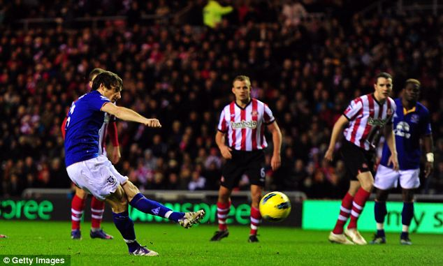 Spot on: Everton's Leighton Baines scores a penalty