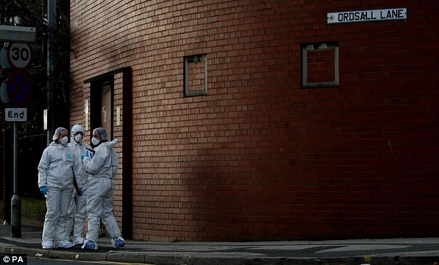 Evidence hunt: The victim was taken to hospital but was later pronounced dead