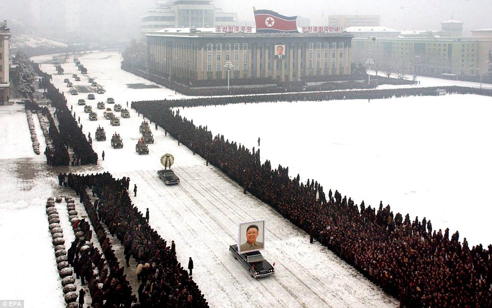 Farewell: Weeping North Koreans lined the streets of Pyongyang to bid goodbye to long time leader Kim Jong Il