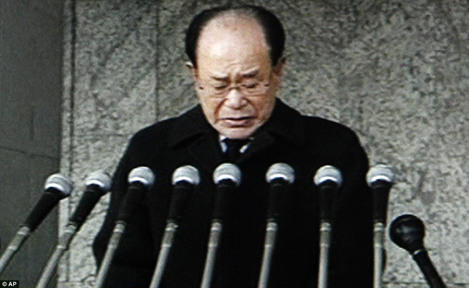 Paying tribute: Ceremonial head of state Kim Yong Nam speaks during the memorial service about the late North Korean leader Kim Jong Il