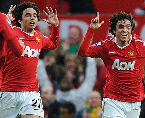 Brothers in arms: The Da Silva twins joined United when they were 14