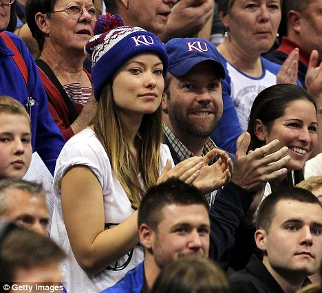 First public outing: Olivia Wilde and Jason Sudeikis were seen at a KU basketball game last week