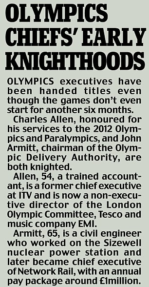 Awards: Olympics chiefs' early knighthoods