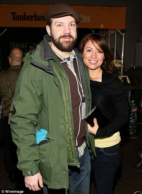 Happier times: Jason has also been married before seen here with ex-wife Kay Cannon in 2008