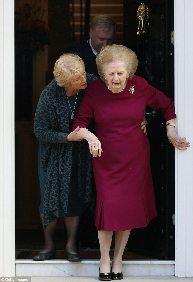 Frail: Mrs Thatcher is helped to her door in 2011. The Iron Lady became increasingly frail in her later years
