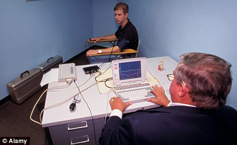 Pilot scheme: A man is tested in America where polygraphs are routinely used by police forces to question a suspect
