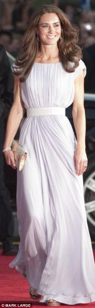 Pale lilac pleated silk gown by Alexander McQueen, Jimmy Choo shoes (£435), Jimmy Choo clutch (£295) - BAFTA gala in LA in July
