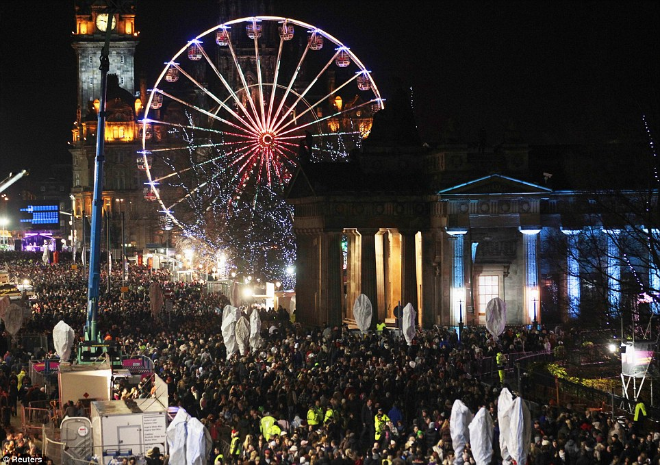EDINBURGH: Crowds fill Princess Street as a huge party gets underway to mark the start of the New Year