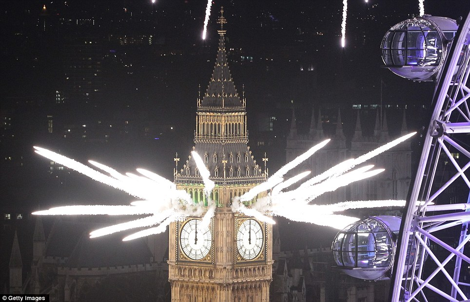 LONDON: Fireworks light up the sky and Big Ben just after midnight