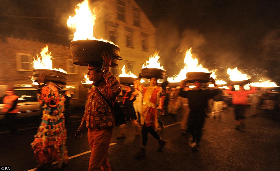NORTHUMBERLAND: Tar Barrels are lit in readiness for the traditional Allendale New Year Tar Barrel Parade in Allendale, Northumberland to mark