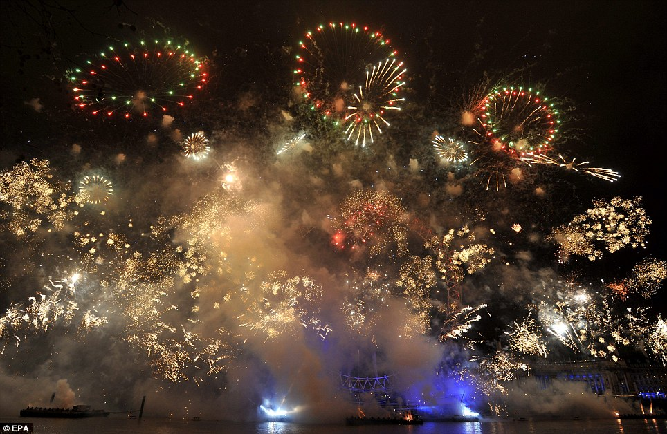 LONDON: 2012 starts with a bang as spectacular fireworks light up the sky over the London Eye on the South Bank of the Thames in the capital at midnight