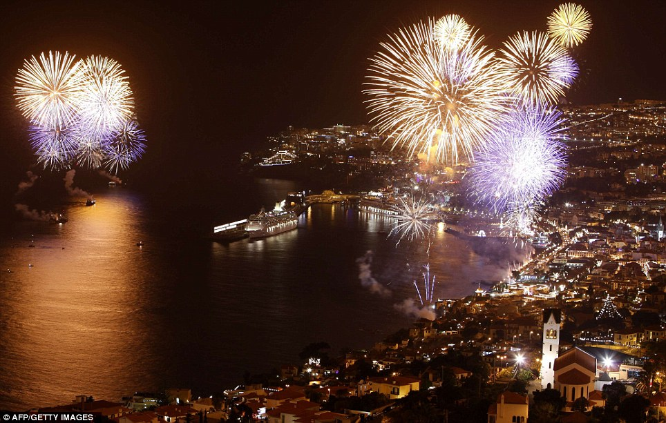 PORTUGAL: Fireworks light up the sky above the Funchal bay in Funchal, Madeira Island