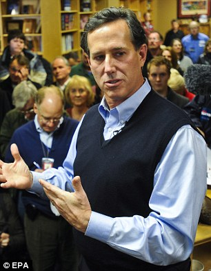 Countdown: With time running short, Rick Santorum (left), Ron Paul (right) and other Republican presidential contenders insisted they could beat President Barack Obama over Romney