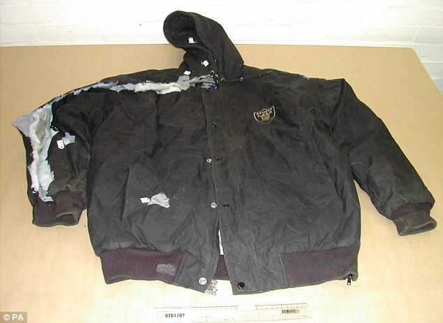 Evidence: An LA Raiders jacket worn by Stephen Lawrence on the night he was killed. Fibres from his clothes were transferred to Gary Dobson's outfits