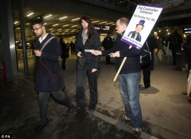 Transport union TSSA was outside St Pancras Station this morning to highlight their campaign against rail fare rises