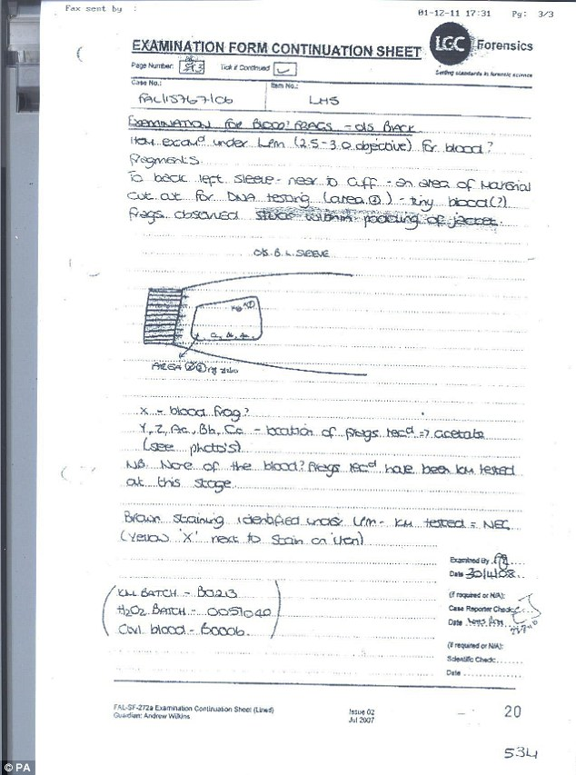 An LGC forensic examiner's notes of exhibit LH5, a jacket found at Gary Dobson's address