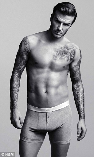Cheap briefs: Beckham looks very sexy in the photographs for his collection which cost from £9.99 upwards