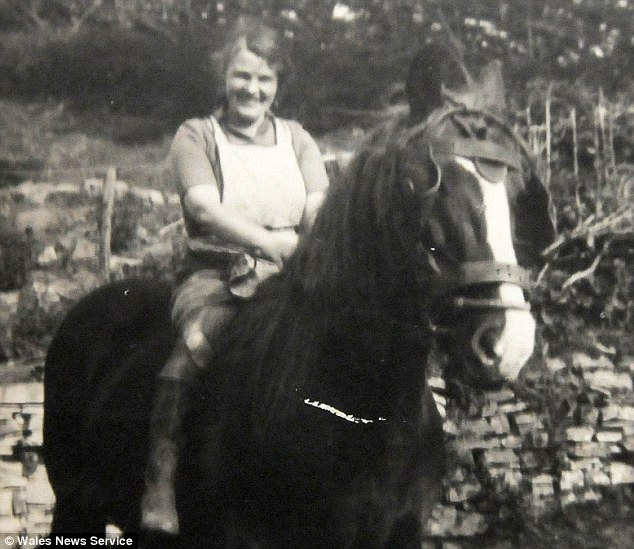 The outdoor life: Lily on a pony, aged approximately 39. To this day she lives on a smallholding in her home village of Garthbrengy, near Brecon