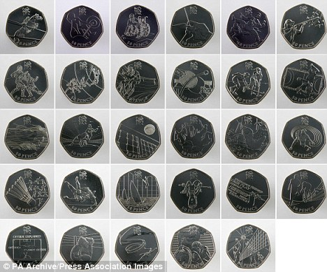 Loads of money: The 50 pence pieces are the first British coins ever to be designed by members of the public