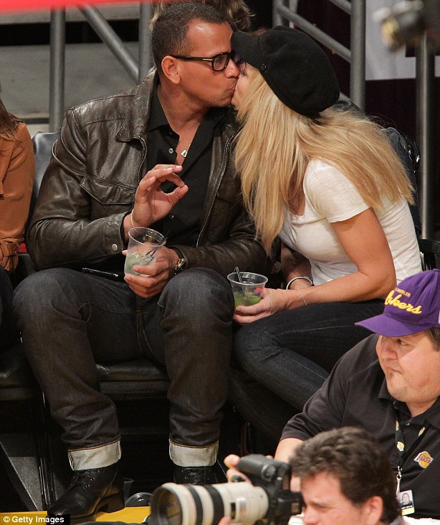 Court side kisses: Last night Rodriguez and Wilson put on a show of affection at the LA Lakers vs Houston Rockets game at Staples Center