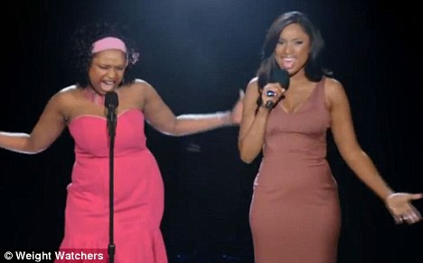 Success story: The star duets with her heavier self in a new Weight Watchers commercial