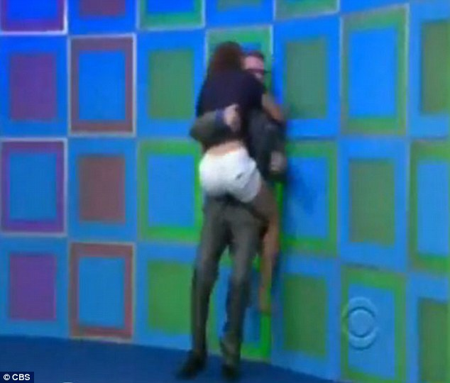 What a Carey on: Drew looked like he had been taken by surprise by the enthusiastic contestant