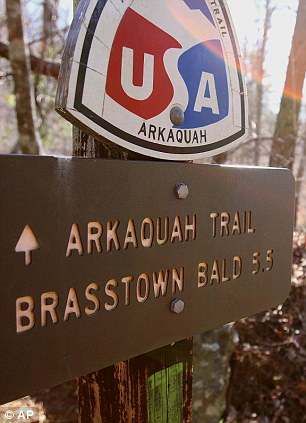 The beginning of the Arkaquah Trail, where possible ancient Mayan mounds have been discovered, December, 29, 2011 in Brasstown Baid, GA.
