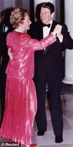 The real thing: President Ronald Reagan dancing with Mrs Thatcher during his inaugural ball in 1984 at the White House