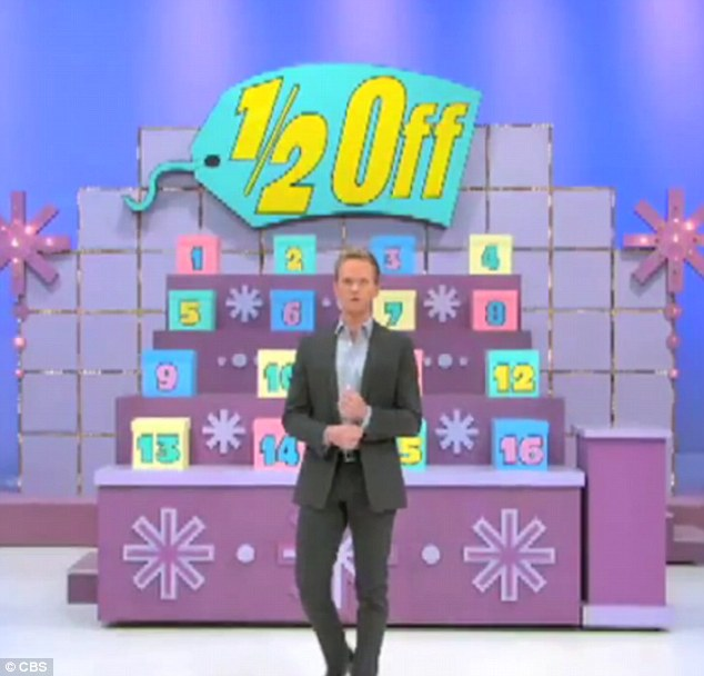 Loads of fun: NPH hammed it up as he made his dramatic entrance on the exciting quiz show