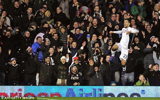 Jumping for joy: Fulham's Clint Dempsey put Charlton to the sword with a hat-trick