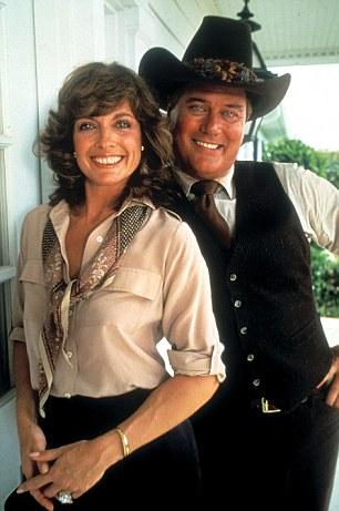Stars of the small screen: Hagman as J.R.Ewing with Dallas co-star Linda Gray as Sue Ellen