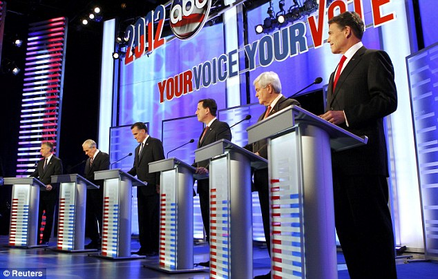 Fight: From left to right, Jon Huntsman, Ron Paul, Mitt Romney, Rick Santorum, Newt Gingrich and Rick Perry participate in the Republican presidential debate at St. Anselm College in Manchester, New Hampshire