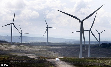 Grim vista: Europe's biggest onshore wind farm, Whitelee, on the outskirts of Glasgow, Scotland