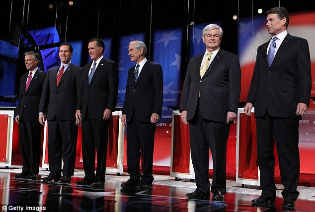 Fired up: Republican presidential candidates, (l-r) former Jon Huntsman, Rick Santorum, Mitt Romney, Ron Paul, Newt Gingrich and Rick Perry before the debate in Concord, New Hampshire