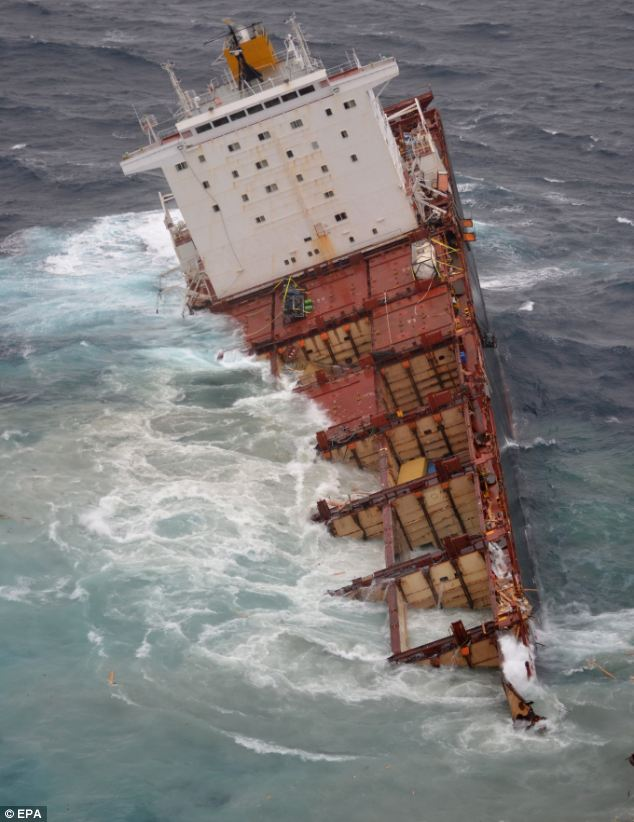 The storm that split the vessel will continue for another three to four days, Maritime New Zealand spokesman Ross Henderson said