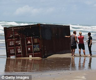 Washed up container at Waihi Beach