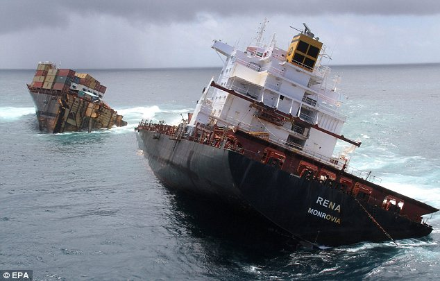 Split in two: The wreck of the Greek-owned Rena was described as New Zealand's worst maritime environmental disaster even before the rear section of the ship broke away