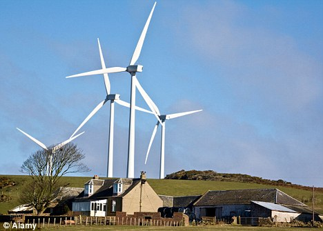 Dominating the landscape: But wind turbines can only operate alongside conventional power stations