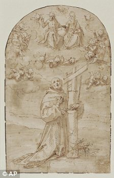 Pen and ink drawing by 16th century Italian painter Guglielmo Caccia