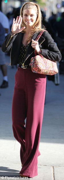 Pretty in purple: AnnaLynne brushed off the incident as she returned to the 90210 set this week