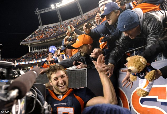 Celebrity status: Tebow is not only a favourite with Denver Broncos fans, his good looks and charm have seen him signed to powerful Hollywood agent Ari Emanuel