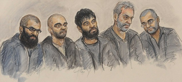 Defendants: A sketch taken from inside the court of the five men on trial. (L-r) Ihjaz Ali, Razwan Javed, Kabir Ahmed, Mahboob Hassain and Umer Javed