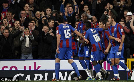 Party time: Crystal Palace celebrate Anthony Gardner's first-half goal