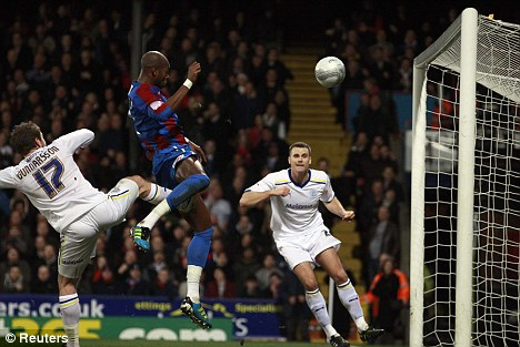 Rising highest: Gardner heads home to give Palace a narrow first-leg advantage