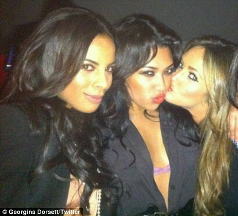 Star power: New The Only Way Is Essex cast member Georgina Dorsett with The Saturdays' Rochelle Wiseman and Vanessa White