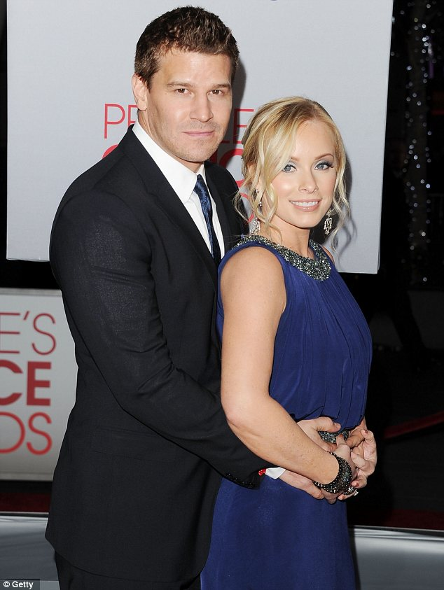 Cute couple: Angel star David Boreanaz was there with his wife Jaime Bergman