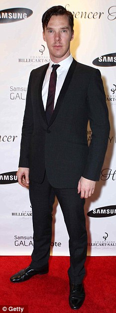 Heroics: Benedict Cumberbatch seen last week at the Spencer Hart & Samsung Galaxy Note party in LA