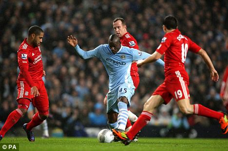 Blow: Balotelli went off injured in Wednseady's cup tie against Liverpool